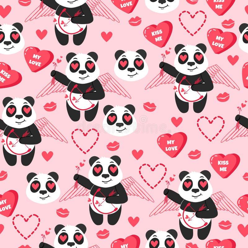 Cupido del panda Fondo di vettore con gli animali cinesi illustrazione vettoriale