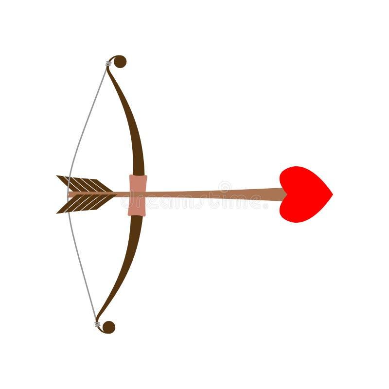 Cupido dell'arco Freccia di amore con cuore Illustrazione per i biglietti di S. Valentino illustrazione vettoriale