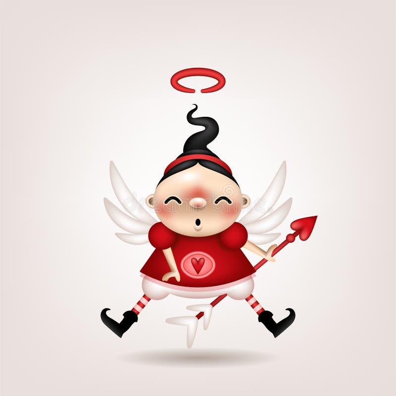 Cupido della ragazza castana illustrazione vettoriale