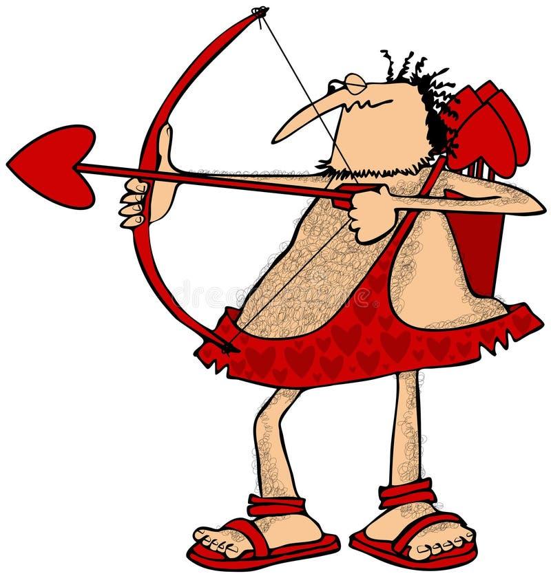 Cupido die een pijl streven stock illustratie