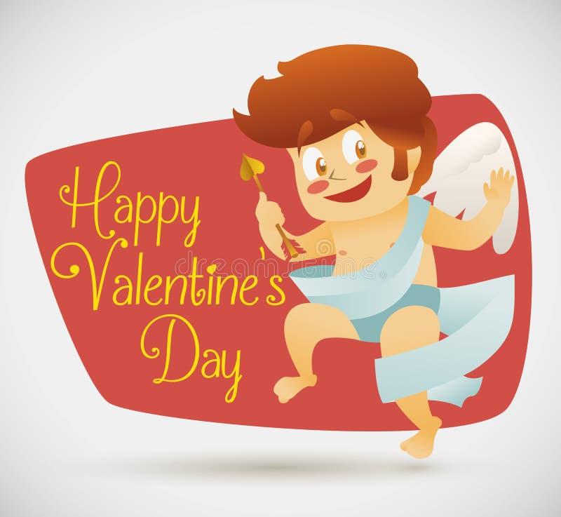Cupido divertido en el estilo y el mensaje retros del saludo, ejemplo de la historieta del vector libre illustration