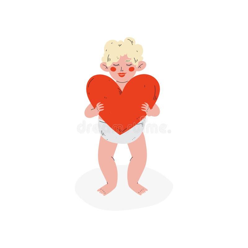 Cupido divertido lindo que lleva a cabo el corazón rojo, ángel del bebé de Amur, Valentine Day Symbol Vector Illustration feliz stock de ilustración