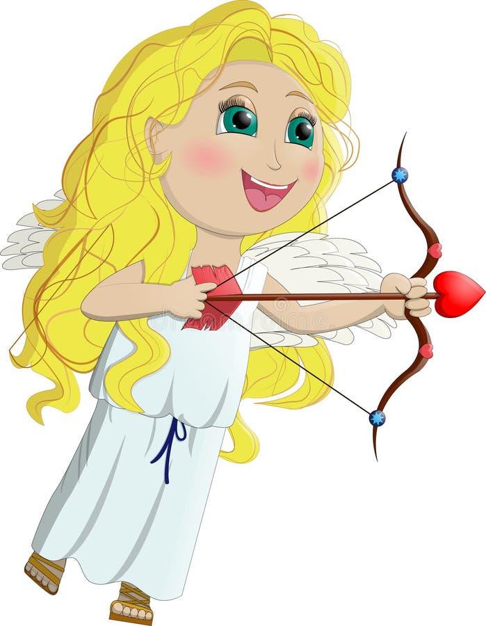 Cupido, engelenmeisje grappig met lang geel haar vector illustratie