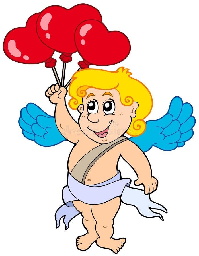 Cupido met ballons stock illustratie
