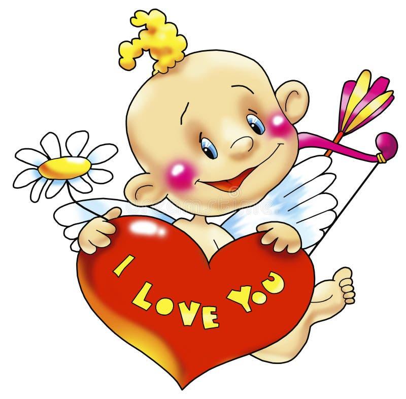 Cupido met hart royalty-vrije illustratie