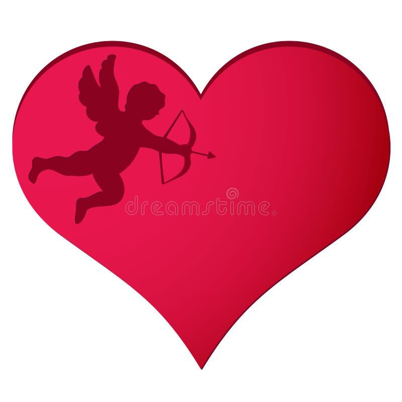 Cupido nel fondo del cuore illustrazione vettoriale
