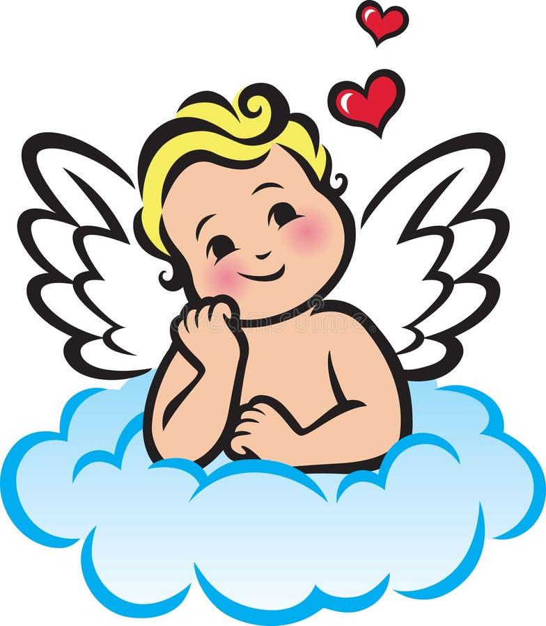 Cupido op een wolk stock illustratie