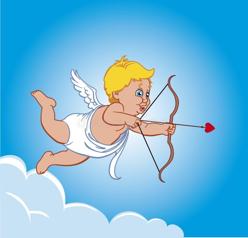 Cupido op een wolk royalty-vrije illustratie