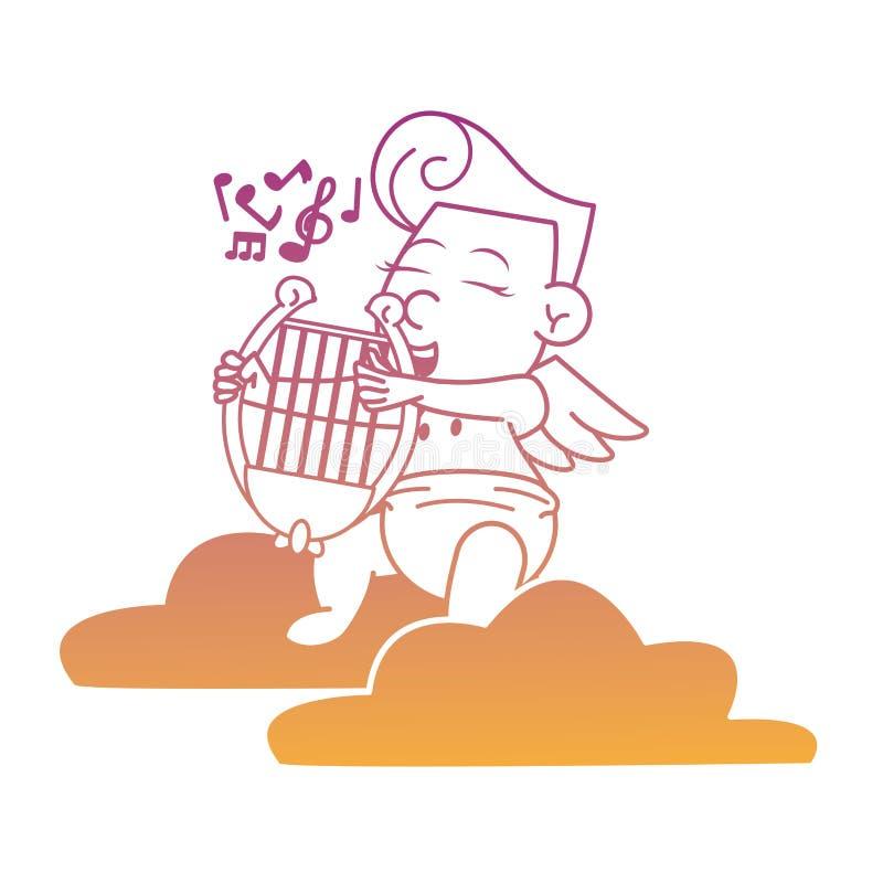 Cupido op wolk met de lijnen van de harpregenboog stock illustratie