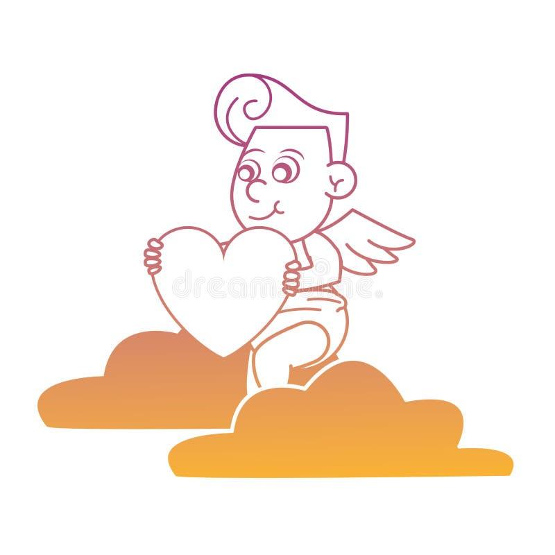 Cupido op wolk met de lijnen van de hartregenboog royalty-vrije illustratie