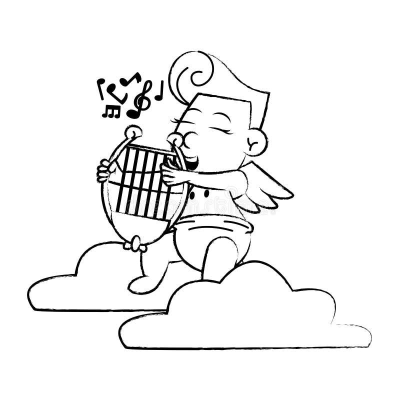 Cupido op wolk met harpschets vector illustratie
