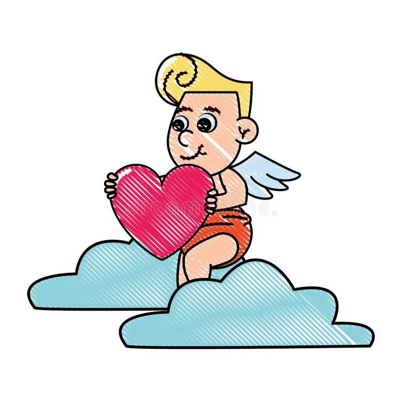 Cupido op wolk met hartgekrabbel stock illustratie