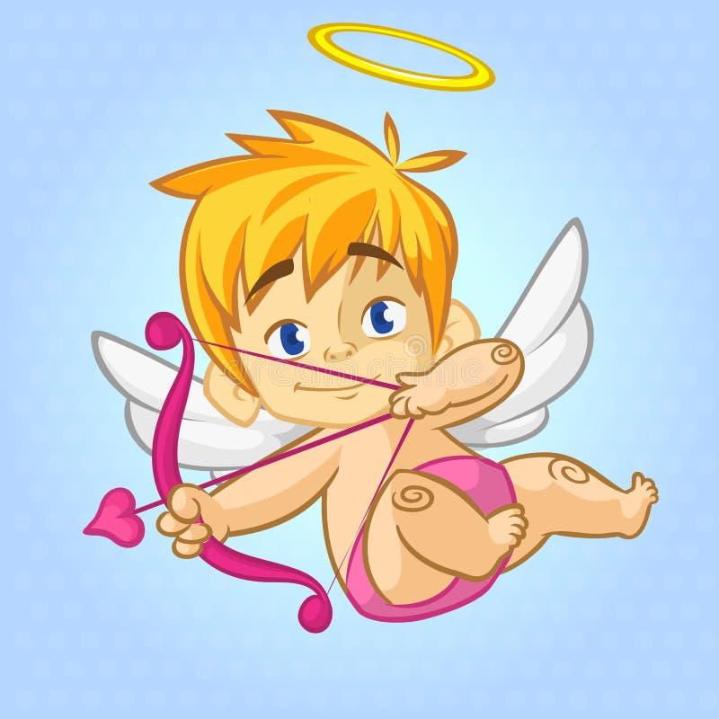 Cupido pequeno engraçado que visa alguém com uma seta do amor Ilustração dos desenhos animados de um dia do ` s do Valentim ilustração royalty free