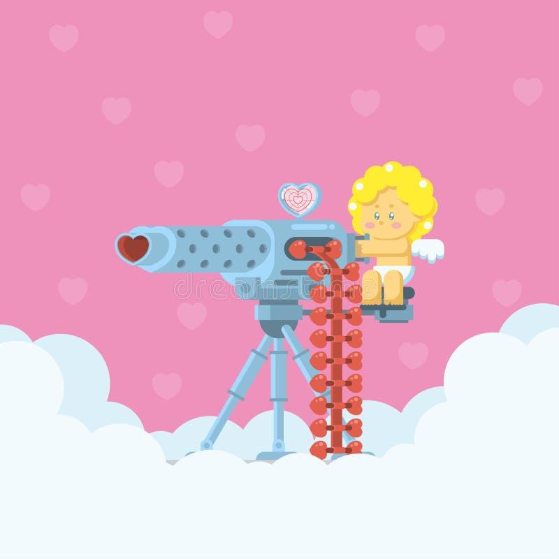 Cupido que apunta la ametralladora del amor ilustración del vector