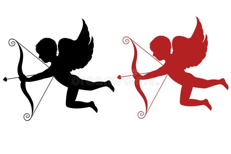 Cupido rojo y negro aislado stock de ilustración