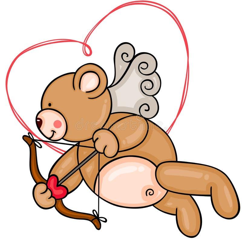 Cupido Teddy Bear ilustração stock