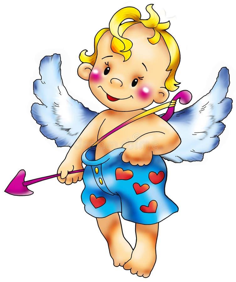 Cupido in vertrouwelijke lafaards. vector illustratie