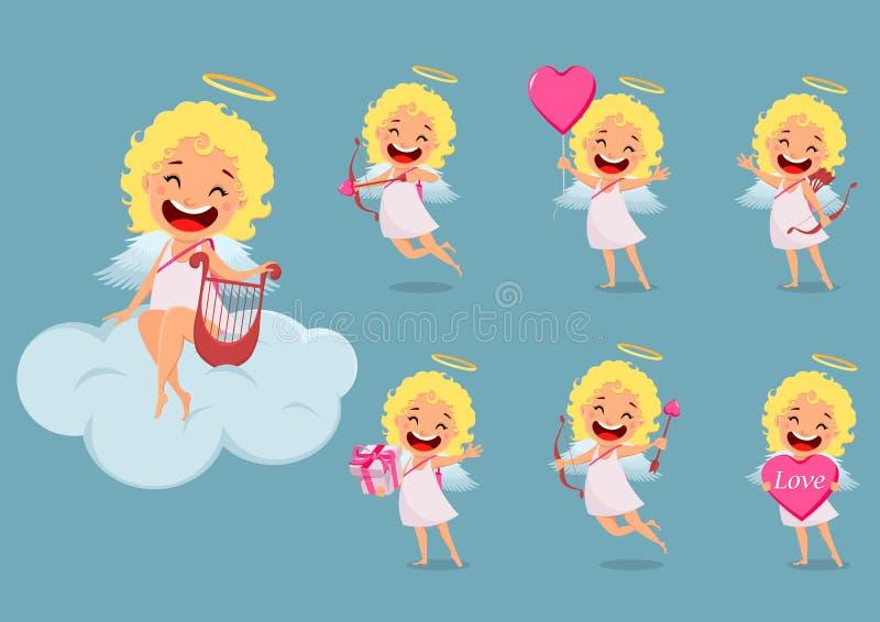 Cupidomeisje, leuk beeldverhaalkarakter, reeks vector illustratie