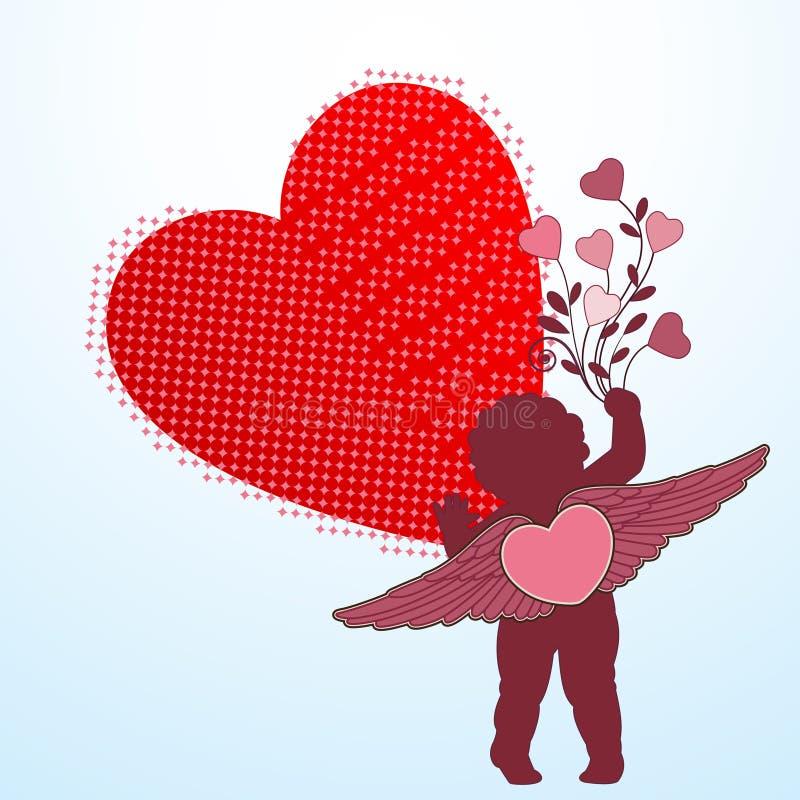 Cupidon avec des ailes et le flourish de coeur illustration de vecteur