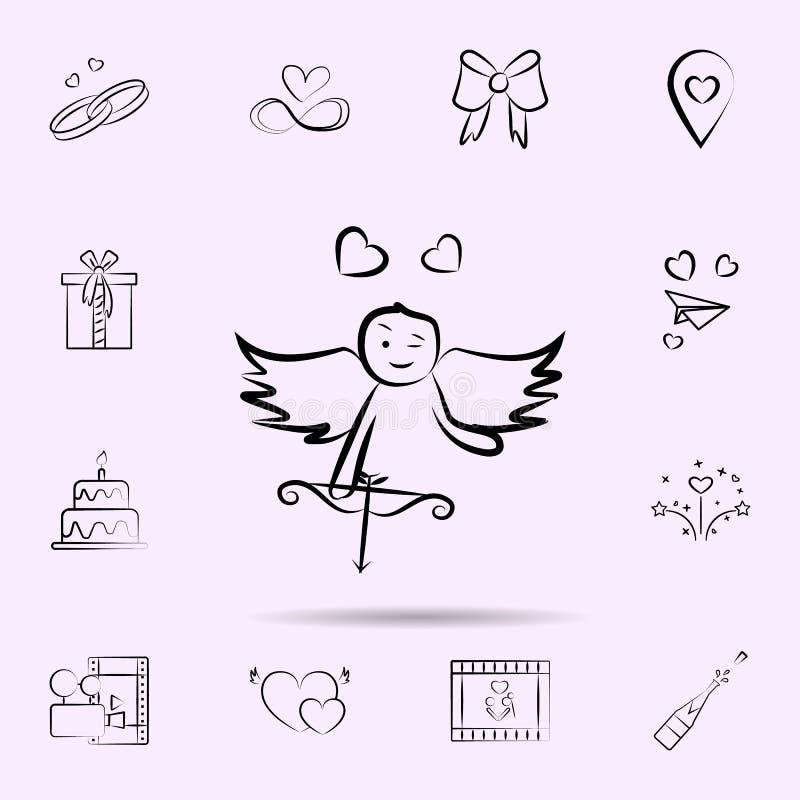 Cupidon avec l'icône d'oignons E illustration stock