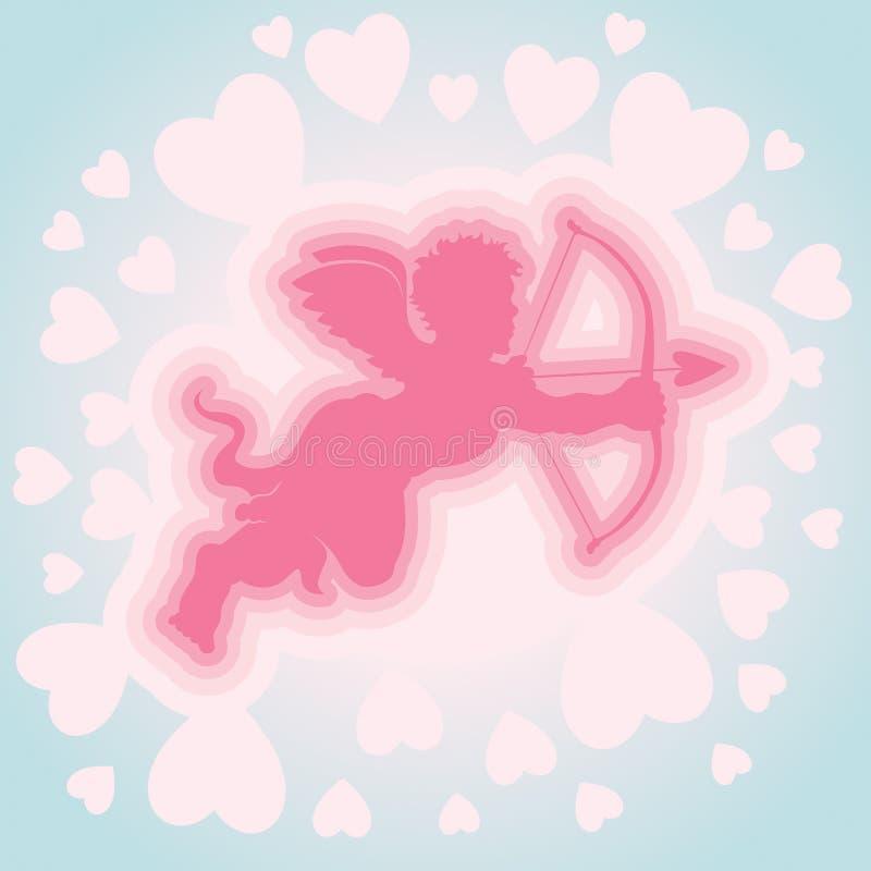 Cupidon avec la proue et la flèche illustration stock