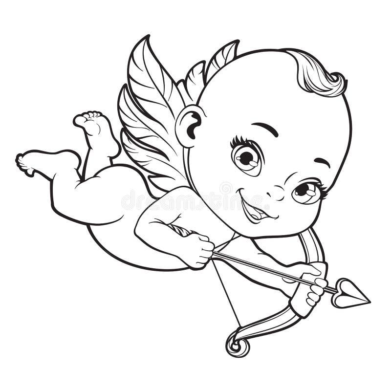 Cupidon de bébé tirant un arc illustration de vecteur