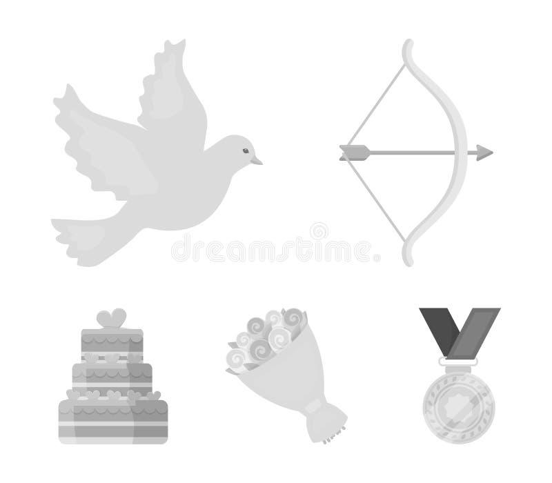 Cupidon de flèche, colombe, bouquet des fleurs, gâteau de mariage Les icônes de collection de gset de Weddin dans le style monoch illustration libre de droits