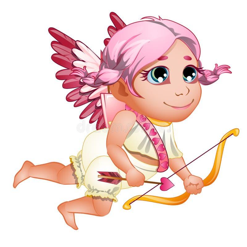 Cupidon de petite fille dans la toge avec les ailes et les cheveux roses, avec l'arc rose le chef heureux de crabots mignons effr illustration libre de droits