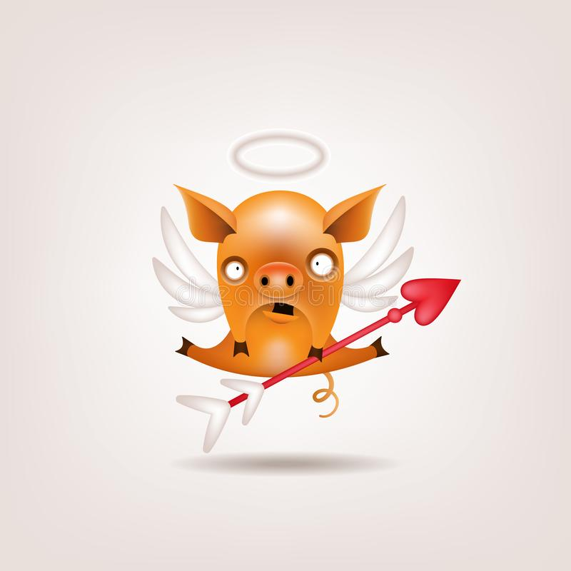 Cupidon de porc de Valentine illustration libre de droits