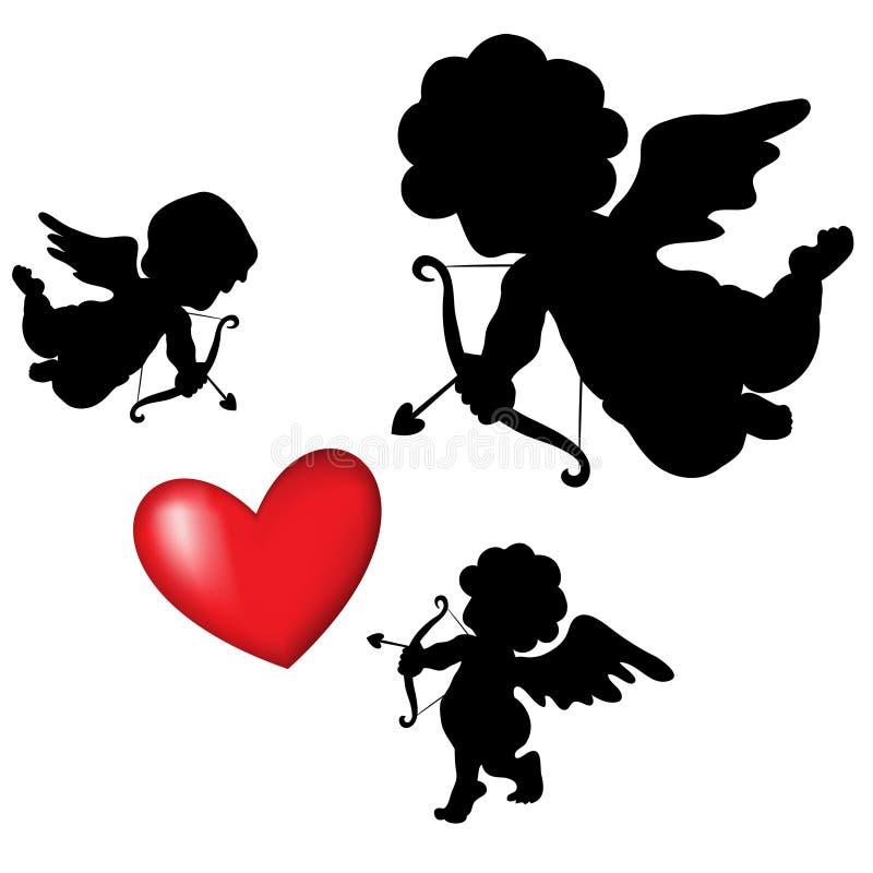 Cupidon de silhouette illustration de vecteur