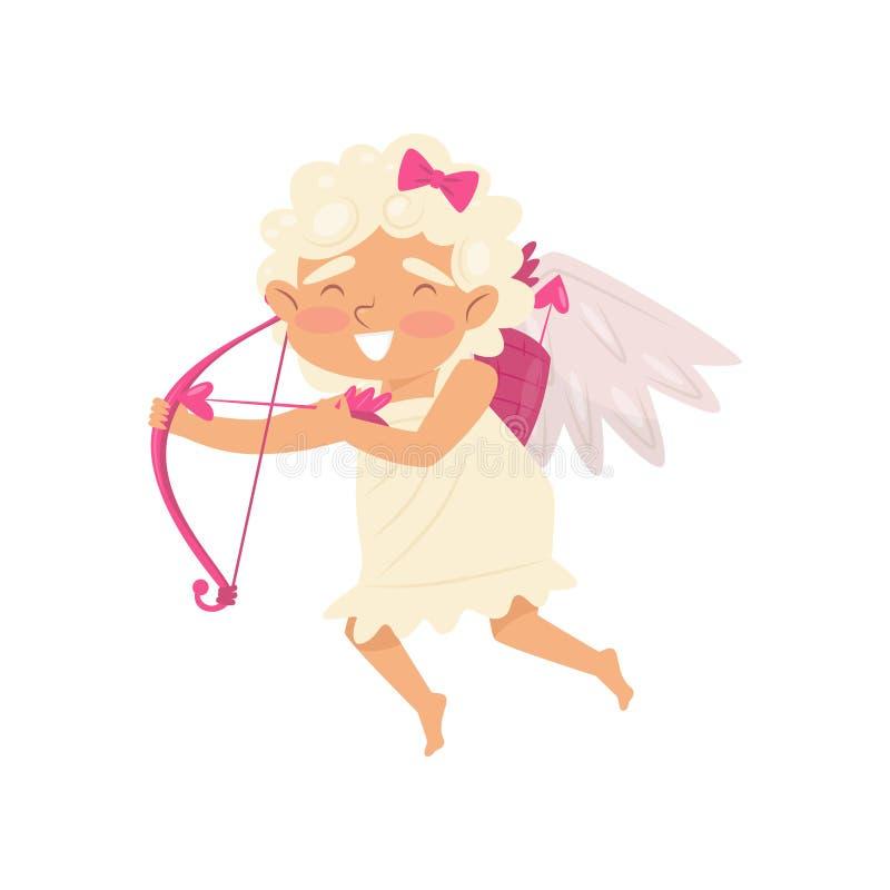 Cupidon gai dans l'action de vol Ange de l'amour avec le tir à l'arc Bébé avec de petites ailes Conception plate de vecteur illustration libre de droits
