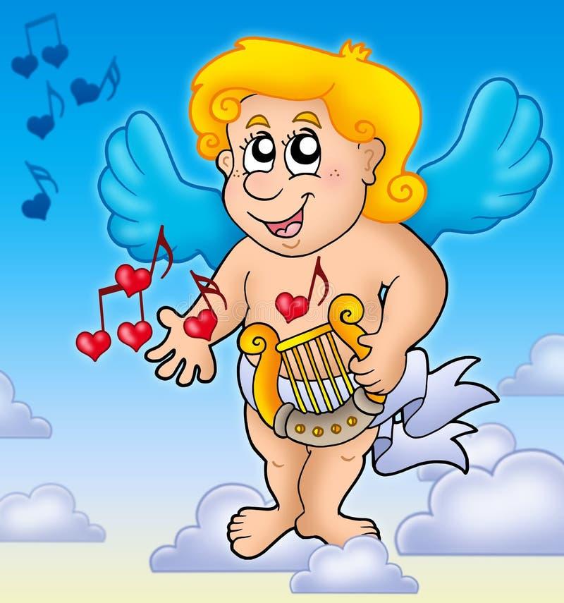 Cupidon jouant l 39 harpe sur le ciel photographie stock libre de droits image 12520547 - Image de cupidon gratuite ...