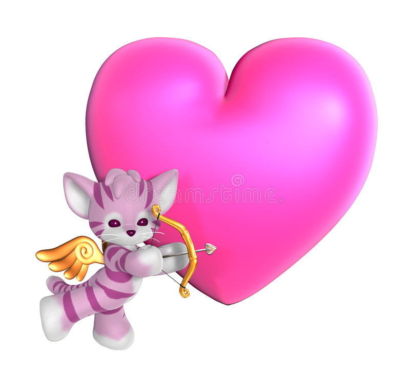 Cupidon Kitty avec le coeur illustration stock