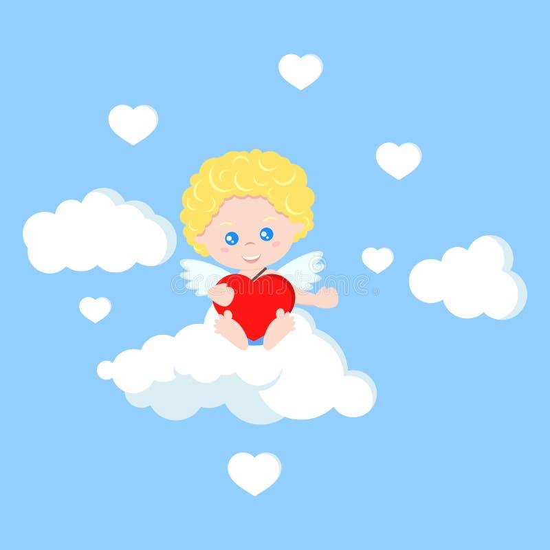 Cupidon mignon d'isolement par vecteur dans le style plat de bande dessinée illustration de vecteur