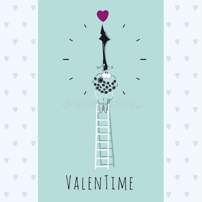 Cupidon mignon Illustration Carte de Valentine illustration libre de droits