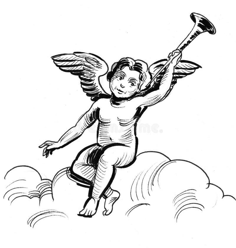 Cupidon sur le nuage illustration de vecteur