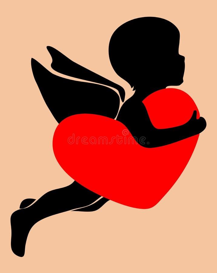 Cupidon tenant un coeur illustration libre de droits