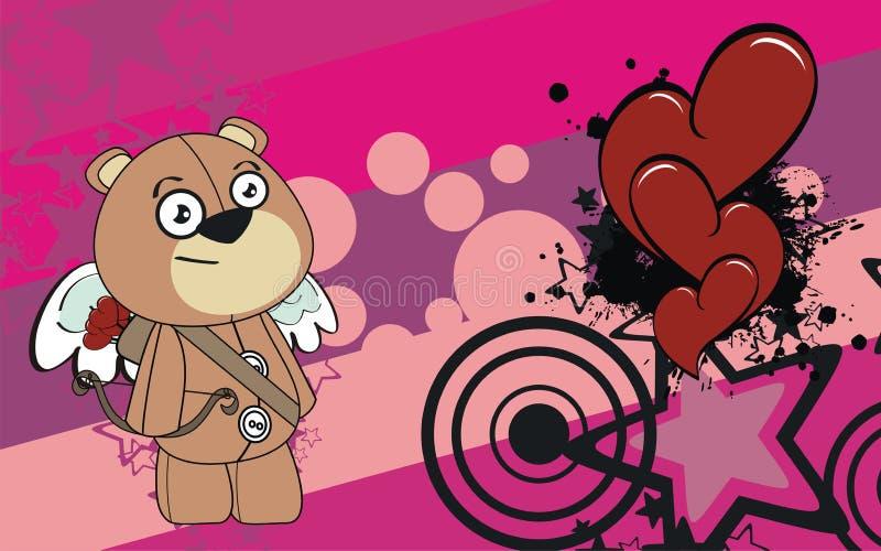 Cupidopluche weinig de valentijnskaartachtergrond van het teddybeerbeeldverhaal stock illustratie