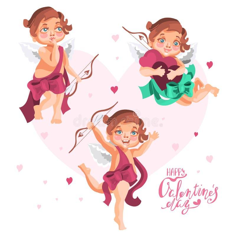 Cupidos bonitos ajustados Cupidos adoráveis dos desenhos animados com asas e curvas ilustração do vetor
