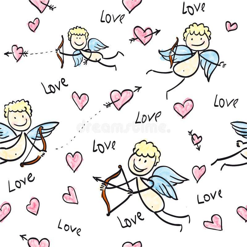 Cupidos del día del ` s de la tarjeta del día de San Valentín de la impresión ilustración del vector