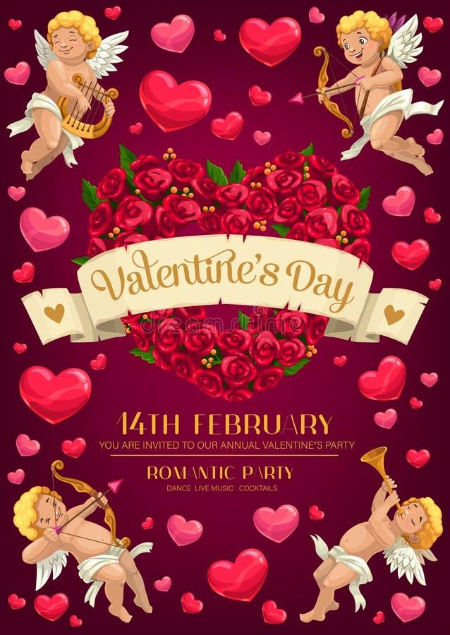 Cupids, καρδιά λουλουδιών, βέλη αγάπης κόκκινος αυξήθηκε απεικόνιση αποθεμάτων