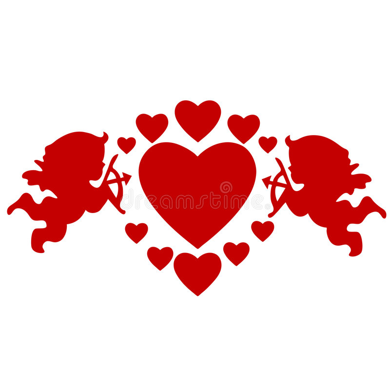 Cupids and hearts stock illustration