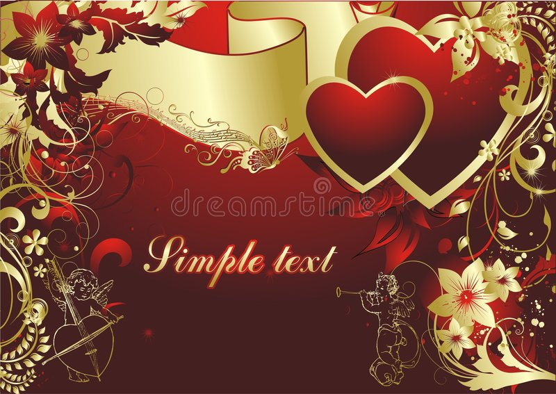 Cupids with two hearts royalty free stock photo