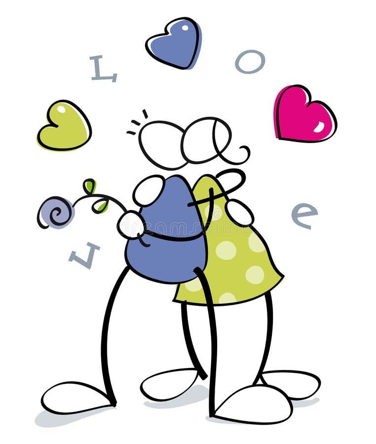 Cuple drôle dans l'amour illustration stock