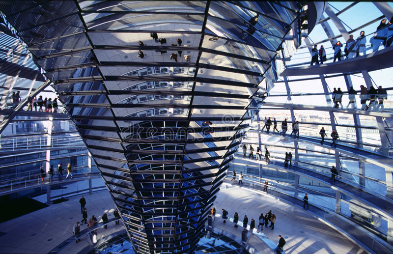 Cuploa of the Reichstag. Inside the cupola of the Reichstags building in Berlin stock photo