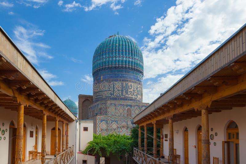 The cupola of Bibi Khanym Mosque in Samarkand stock photo