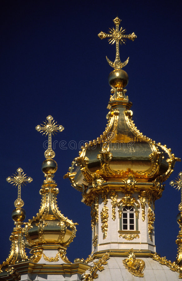 Cupola of church at Peterhof (Saint Petersburg) stock image