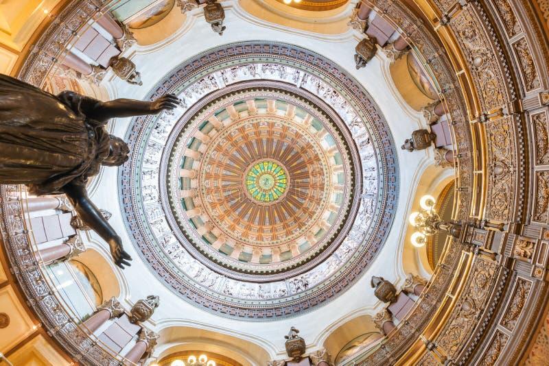 Cupola decorata dentro la costruzione del capitale dello Stato, Springfield, Illinois fotografia stock libera da diritti