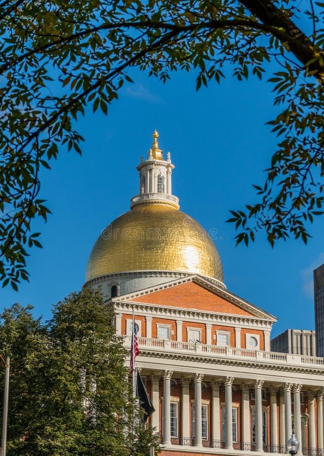 Cupola dell'oro della Camera dello stato di Massachusetts fotografia stock