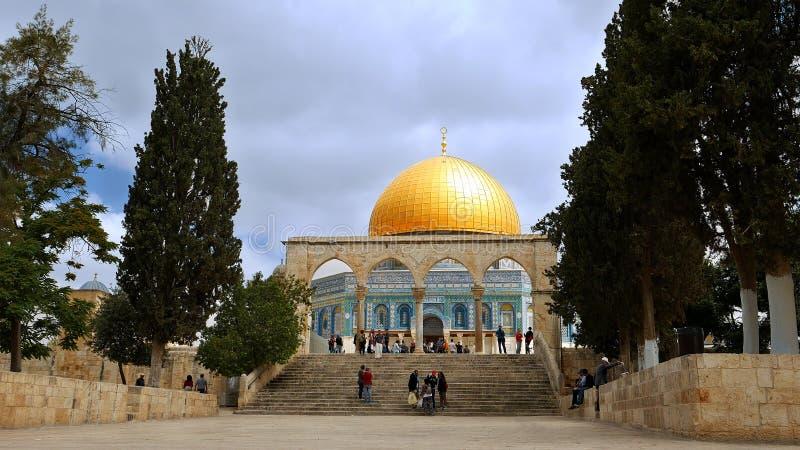 Cupola della roccia a Gerusalemme sopra Temple Mount fotografia stock libera da diritti